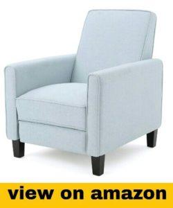 Russell Light Sky Fabric Recliner Club Chair