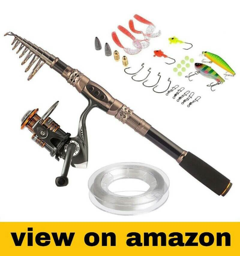 Telescopic Fishing Rod Poles Kit,Travel Spin Spinning Rod and Reel Combos wit...