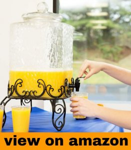 5 Gallon Hammered Glass Cold Beverage Dispenser with Metal Stand Party Wedding