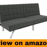 DHP Emily Futon Couch Bed, Modern Sofa Design Includes Sturdy Chrome
