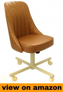 Casual Rolling Caster Dining Chair with Swivel Tilt and Vinyl Seat and Back